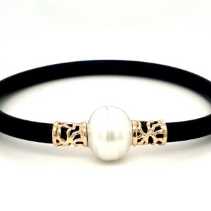 Coral Bay Collection 9k Yellow Gold and Broome Pearl Neoprene Bracelet_0