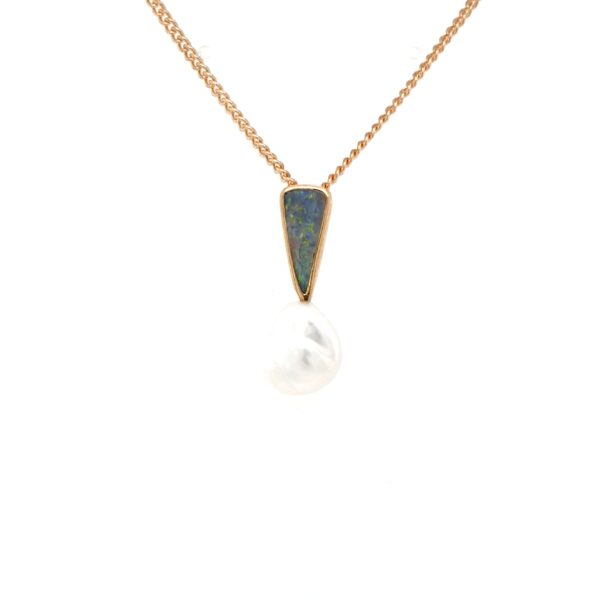 Leon Bakers 9K Yellow Gold Boulder Opal and Keshi Broome Pearl Pendant_0