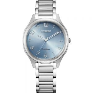 Citizen Eco-Drive Ladies Silver and Blue Watch_0