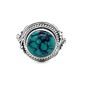 Leon Bakers Stirling Silver Antique Style Turquoise Ring_0