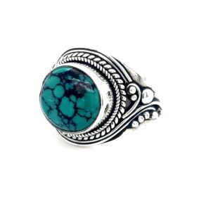 Leon Bakers Stirling Silver Antique Style Turquoise Ring_1