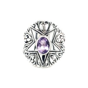Leon Baker Stirling Silver Star and Amethyst Ring_0