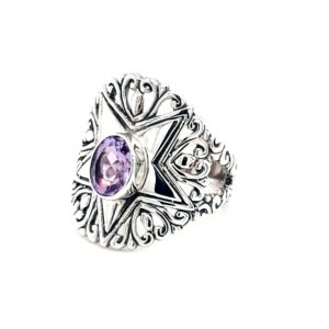 Leon Baker Stirling Silver Star and Amethyst Ring_1