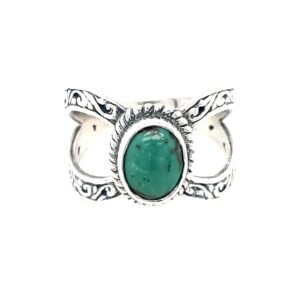 Leon Bakers Stirling Silver Split Shank and Turquoise Ring_0