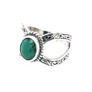 Leon Bakers Stirling Silver Split Shank and Turquoise Ring_1