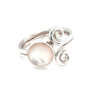 Leon Baker Stirling Silver Swirls and Mother of Pearl Ring_0
