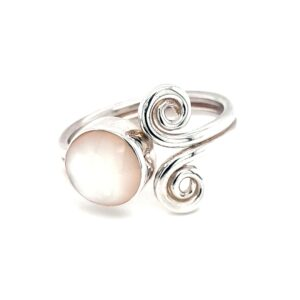 Leon Baker Stirling Silver Swirls and Mother of Pearl Ring_1