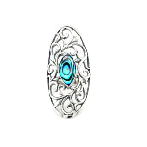 Leon Baker Stirling Silver Paua Shell Swirl Ring_0