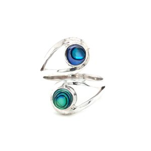 Leon Baker Stirling Silver Twist Paua Shell Ring_0