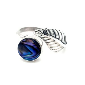 Leon Baker Stirling Silver Leaf and Paua Shell Ring_1