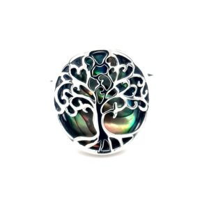 Leon Baker Stirling Silver and Paua Shell Tree of Life Ring_0