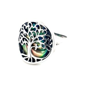 Leon Baker Stirling Silver and Paua Shell Tree of Life Ring_1
