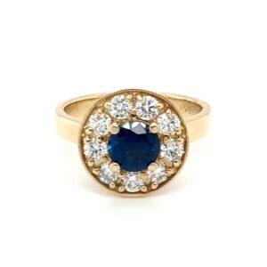Leon Baker 18K Yellow Gold Diamond and Australian Blue Sapphire Ring_0