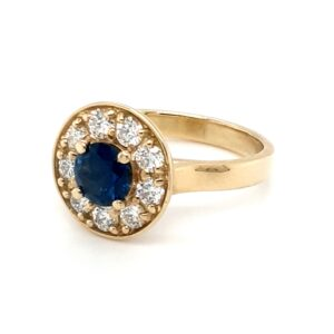 Leon Baker 18K Yellow Gold Diamond and Australian Blue Sapphire Ring_1