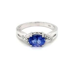 Leon Baker 14K White Gold Tanzanite and Diamond Ring_0