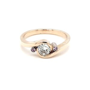 Leon Baker 9K Yellow Gold Diamond and Pink Sapphire Ring_0
