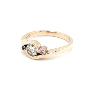 Leon Baker 9K Yellow Gold Diamond and Pink Sapphire Ring_1