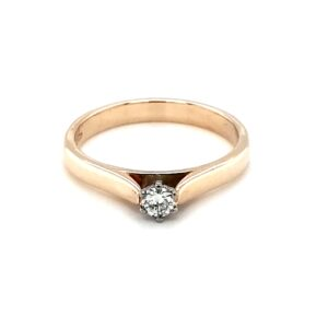 Leon Baker 9k Yellow Gold Round Brilliant Cut Solitaire Ring_0