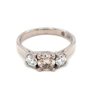 Leon Baker 18K White Gold Champagne and White Diamond Ring_0