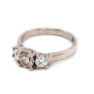 Leon Baker 18K White Gold Champagne and White Diamond Ring_1