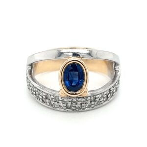 Leon Baker 18K Yellow and White Gold Blue Sapphire Ring_0