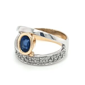 Leon Baker 18K Yellow and White Gold Blue Sapphire Ring_1