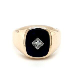 Leon Baker 9K Yellow Gold Black Onyx Gents Ring_0