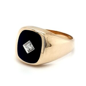 Leon Baker 9K Yellow Gold Black Onyx Gents Ring_1