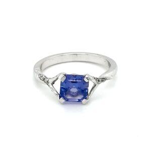 Leon Baker 18K White Gold Tanzanite and Diamond Ring_0
