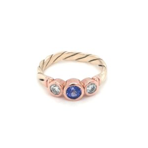 Leon Bakers 9K Twisted Yellow Gold and Rose Gold Trilogy Setting_0