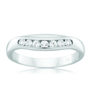 Leon Bakers 9K White Gold Curved Channel Set Band_0