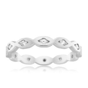 Leon Bakers 9K White Gold and Diamond Wave Band_0
