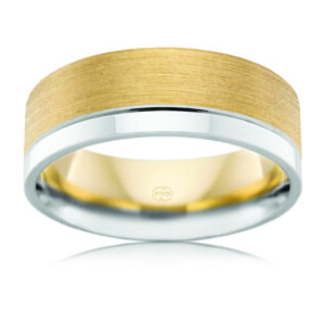 Leon Baker Frosted and Polished Mens Wedding Band_0