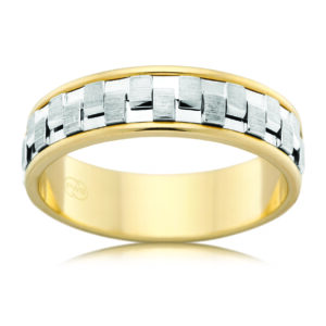 Leon Bakers Silver and Gold Mens Wedding Band_0