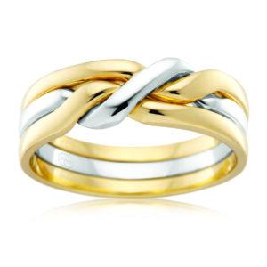 Leon Bakers 9K Two-Toned Cossack Wedding Band_0