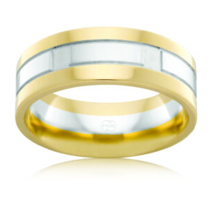 Leon Bakers 9k Two-Toned Mens Faceted Wedding Band_0