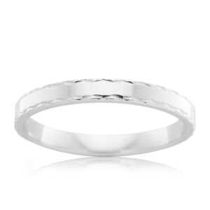 Leon Bakers 9K White Gold Faceted Wedding Ring_0