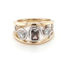 18K Two-Toned Argyle Champagne Diamond Swirl Ring_0