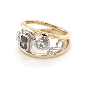 18K Two-Toned Argyle Champagne Diamond Swirl Ring_1
