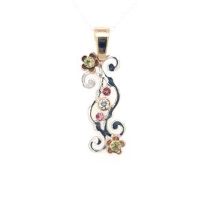 Leon Baker 9K Bi-Tone Wildflower Geraldton Wax Pink Diamond and Green Peridot Pendant_0