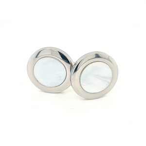 Leon Bakers Stainless Steel Mother of Pearl Cufflinks_0