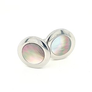 Leon Bakers Stainless Steel and Black Mother of Pearl Cufflinks_0
