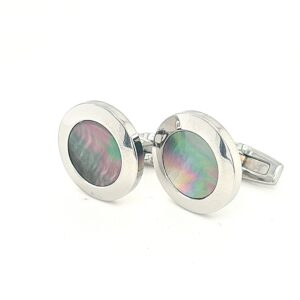 Leon Bakers Stainless Steel and Black Mother of Pearl Cufflinks_1