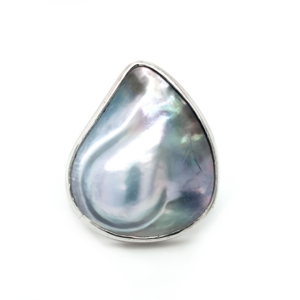 Leon Baker Sterling Silver Abrolhos Mabe Pearl Ring_0