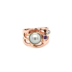 Coral Bay Collection 9K Rose Gold Abrolhos Pearl and Amethyst Ring_0