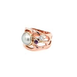 Coral Bay Collection 9K Rose Gold Abrolhos Pearl and Amethyst Ring_1