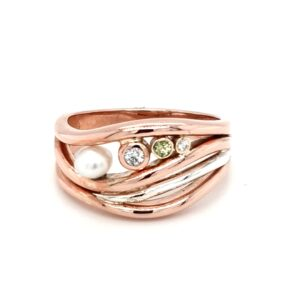 Leon Bakers Handmade 9K Rose Gold and Stirling Silver Coral Bay Wave Ring_0