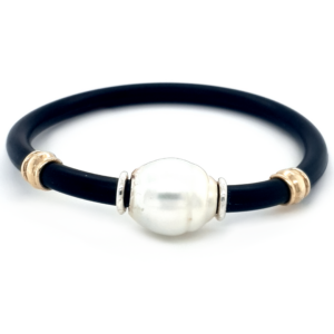 Leon Baker Coral Bay 9K Yellow Gold and Silver Broome Pearl Neoprene Bracelet_0