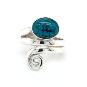 Leon Baker Sterling Silver and Turquoise Wrap Ring_0