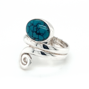 Leon Baker Sterling Silver and Turquoise Wrap Ring_1